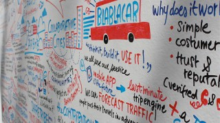 Collaborative whiteboard at OuiShare 2012, full of wonderful ideas for venture capitalists to ruin - photo by Natalie Ortiz
